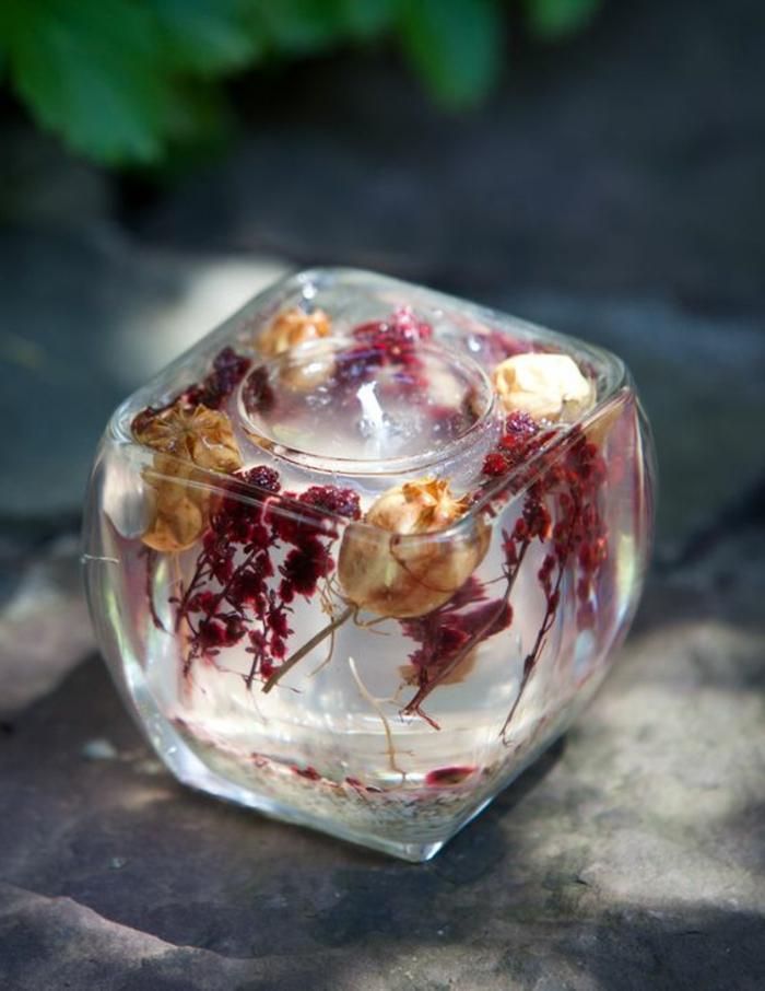 Idea come fare stoppino per candele, contenitore di vetro con cera gel e fiori secchi