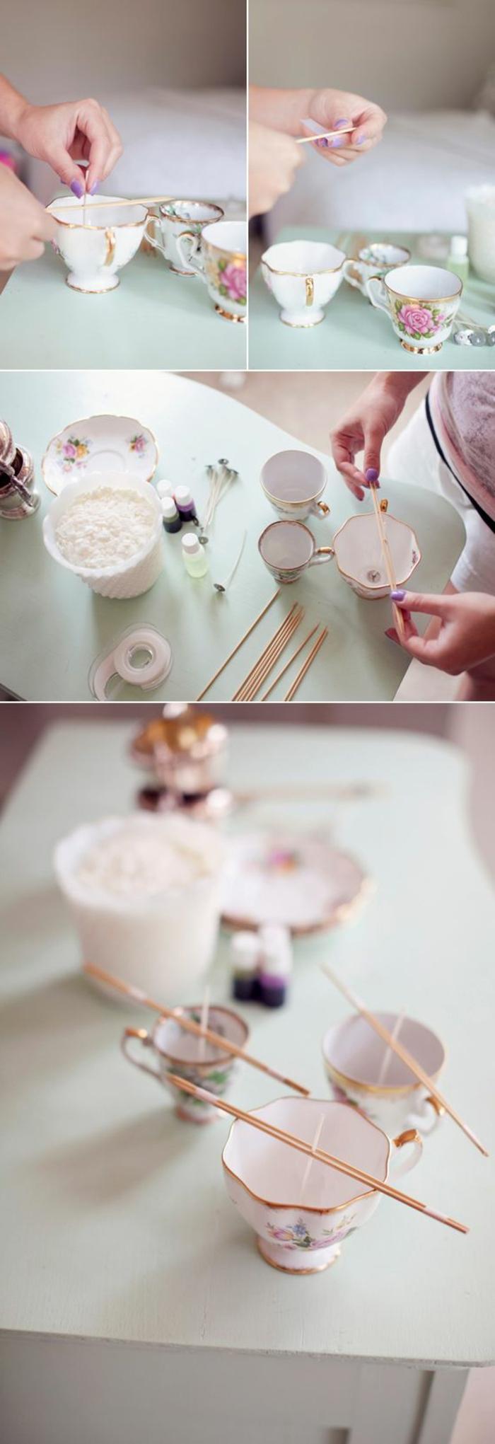 Idea come fare stoppino per candele, tazza da tè utilizzata come portacandele