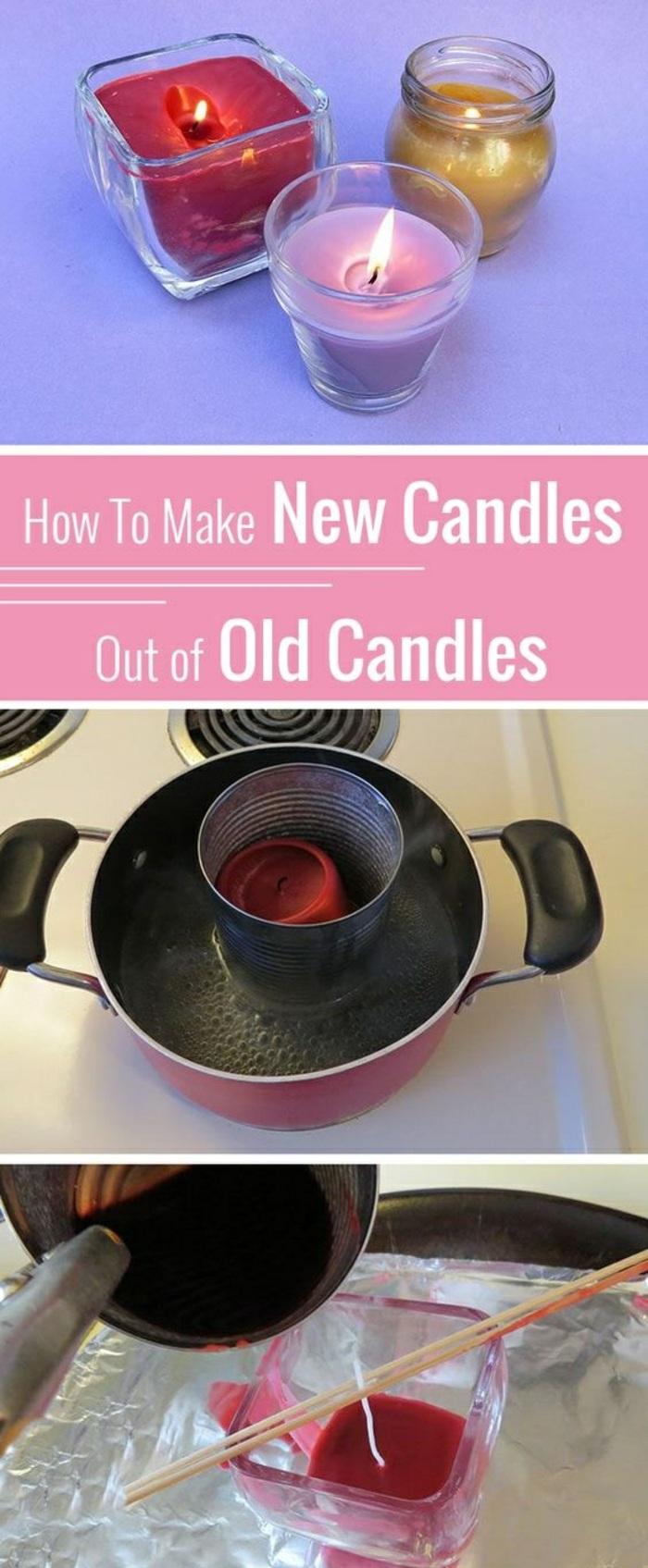 Stoppino fai da te, sciogliere la vecchia candela a bagnomaria e versare nel bicchiere portacandele