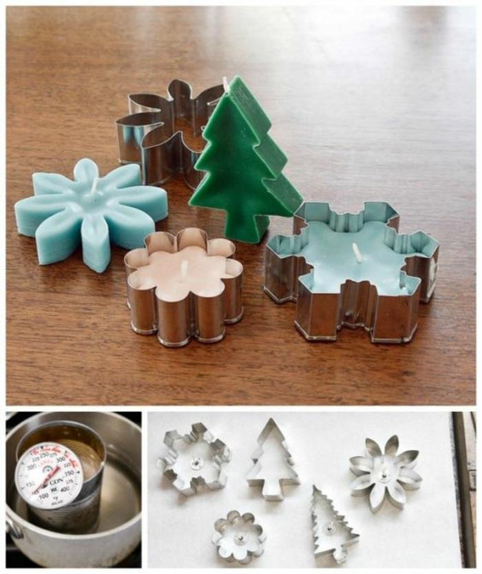 Come fare candele artistiche, tema natalizio con formine in metallo dei biscotti, sciogliere la cera a bagnomaria