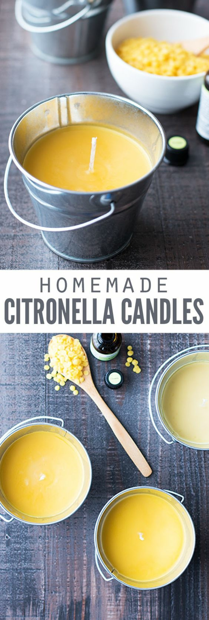 Come fare candele artistiche, una candela in secchio con cera di colore giallo al profumo di limone