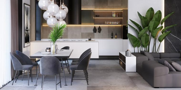 Sala da pranzo e salotto insieme, cucina bicolore, tavolo da pranzo con sedie
