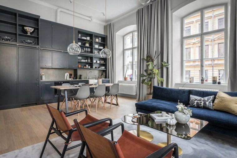 Soggiorni moderni immagini, divano di colore blu, cucina di colore nero