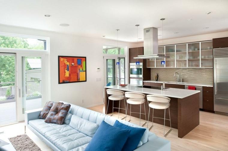 Salotto con cucina, cucina con isola centrale, divano di pelle azzurro