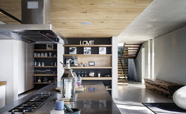 Open space moderno, arredamento con mobili di legno e acciaio, mensole con decorazioni, cappa aspirante sospesa