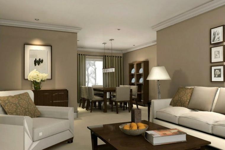 salotto con divani bianchi e tavolino in legno, zona pranzo e pareti tortora: idee per tinteggiare il salotto