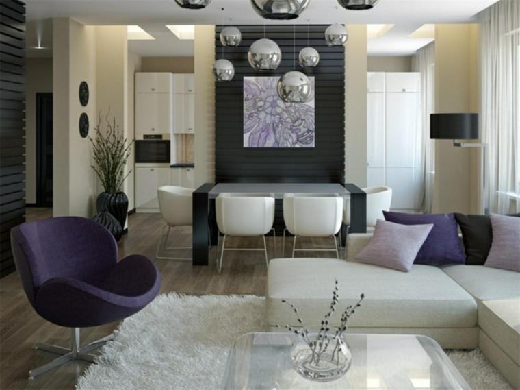idea per arredare cucina soggiorno open space con mezza parete divisoria e poltrone di design