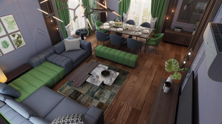 Arredare salotto piccolo, divano di colore verde, pavimento in legno massello