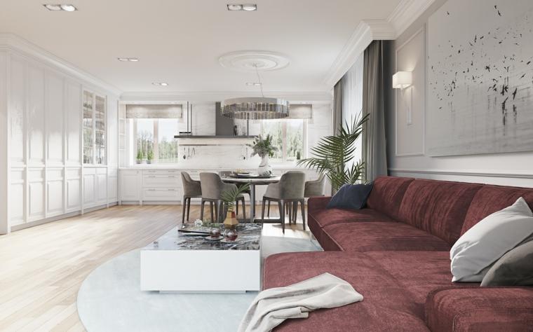 Cucina soggiorno open space, arredamento con mobili stile contemporaneo nella tonalità di colore chiaro