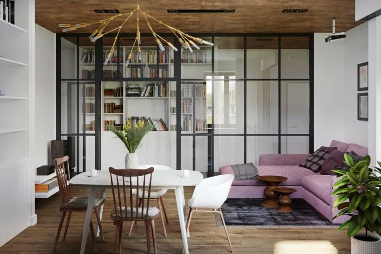 Soggiorni moderni immagini, divano di colore viola, porta scorrevole di vetro, tavolo bianco con sedie
