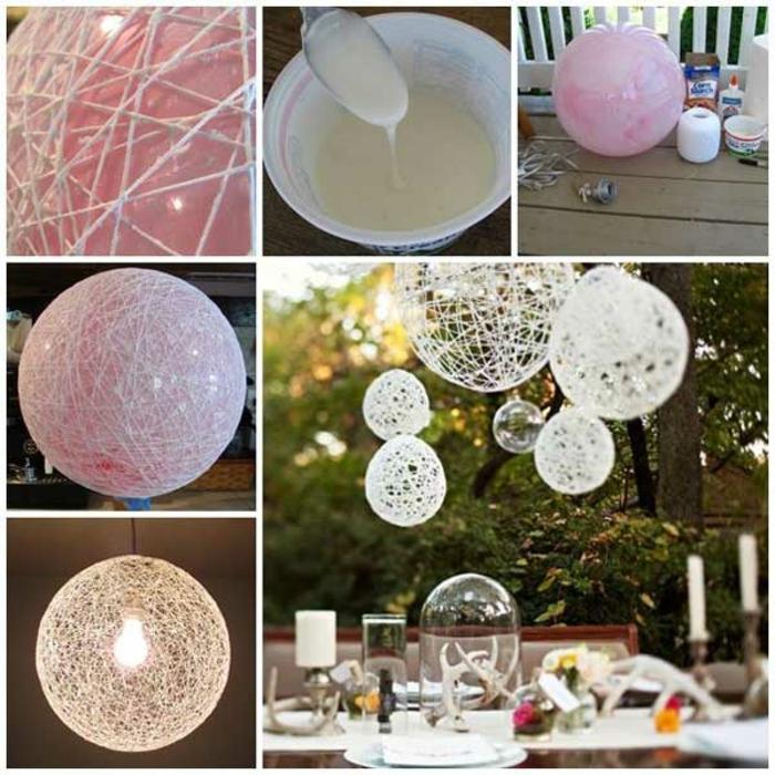 idea per oggetti fai da te semplici, delle palle decorate con dei fili da appendere