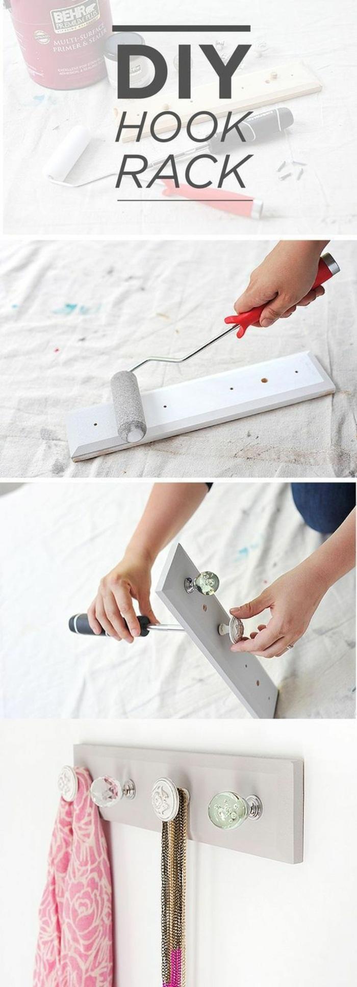 idea di creazioni fatte a mano, un portaoggetti da appendere alla parete semplice ed originale