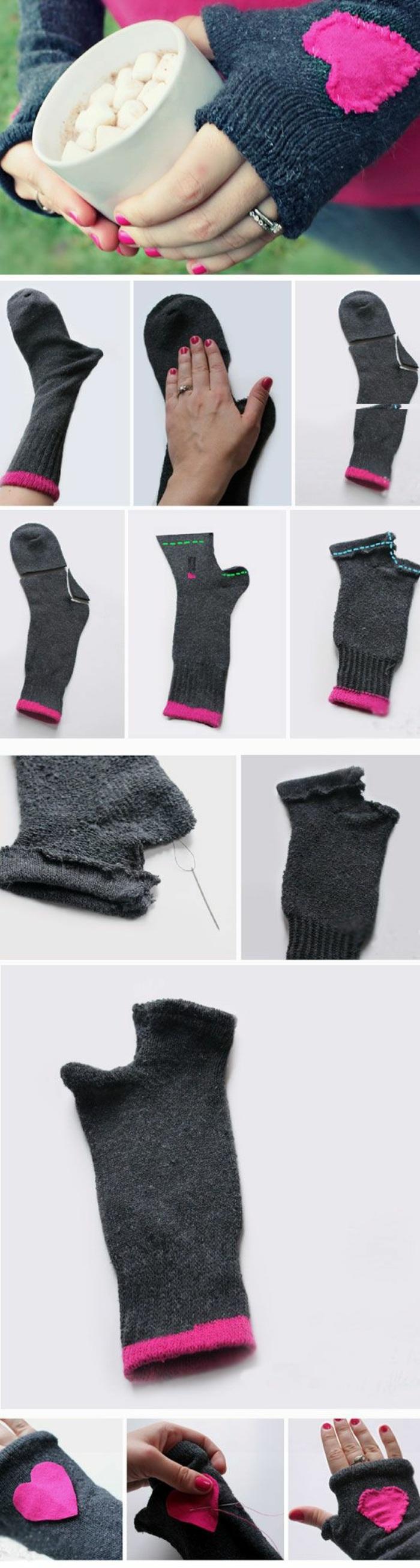 esempio di oggetti fai da te frutto di un riciclo creativo, un calzino trasformato in guanto
