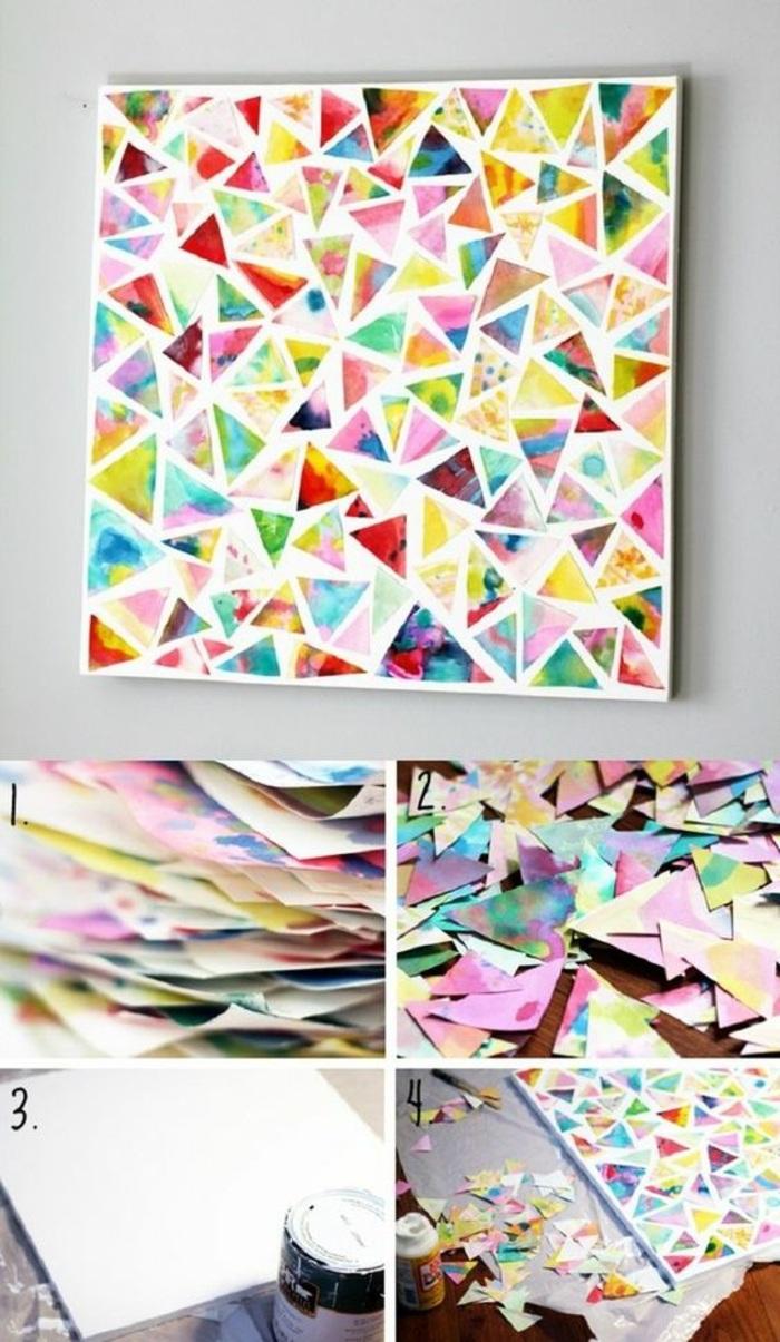 idea per degli oggetti artigianali fatti a mano, un collage di ritagli di giornali colorati