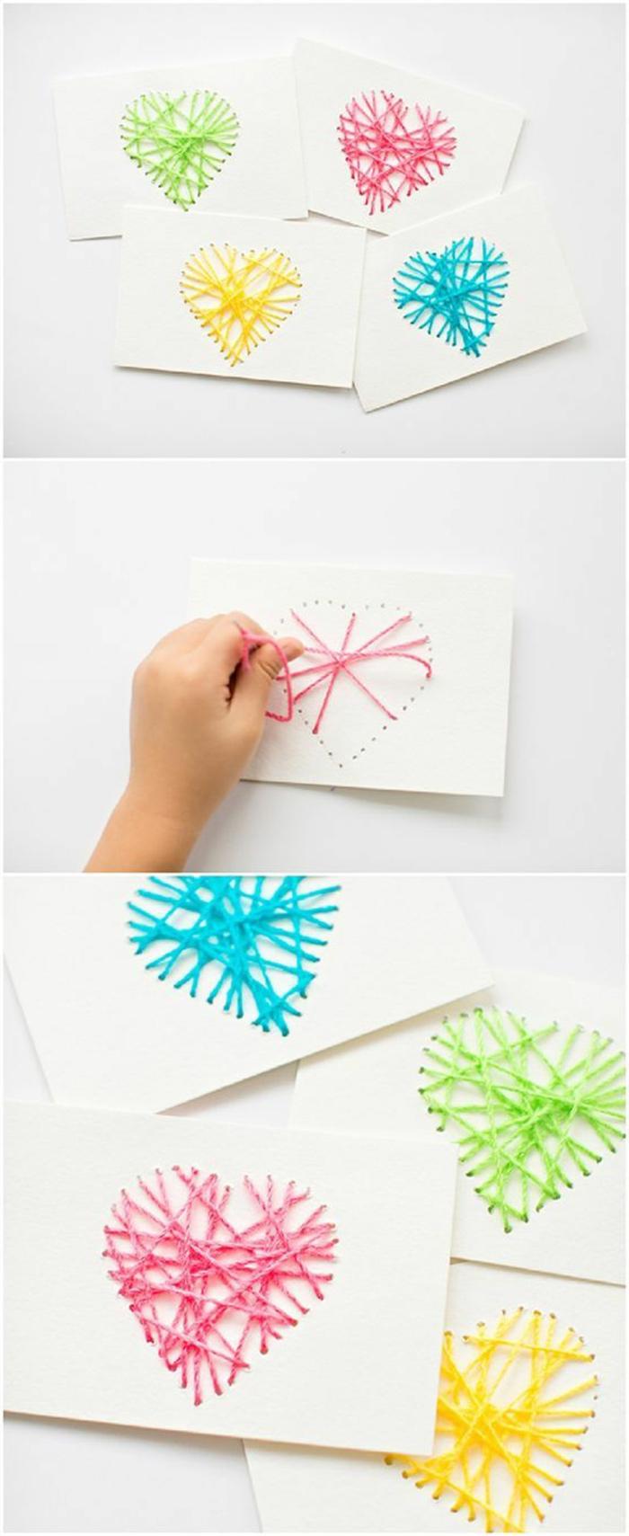 idea per un'oggettistica fatta a mano, dei cuori realizzati con dei fili colorati