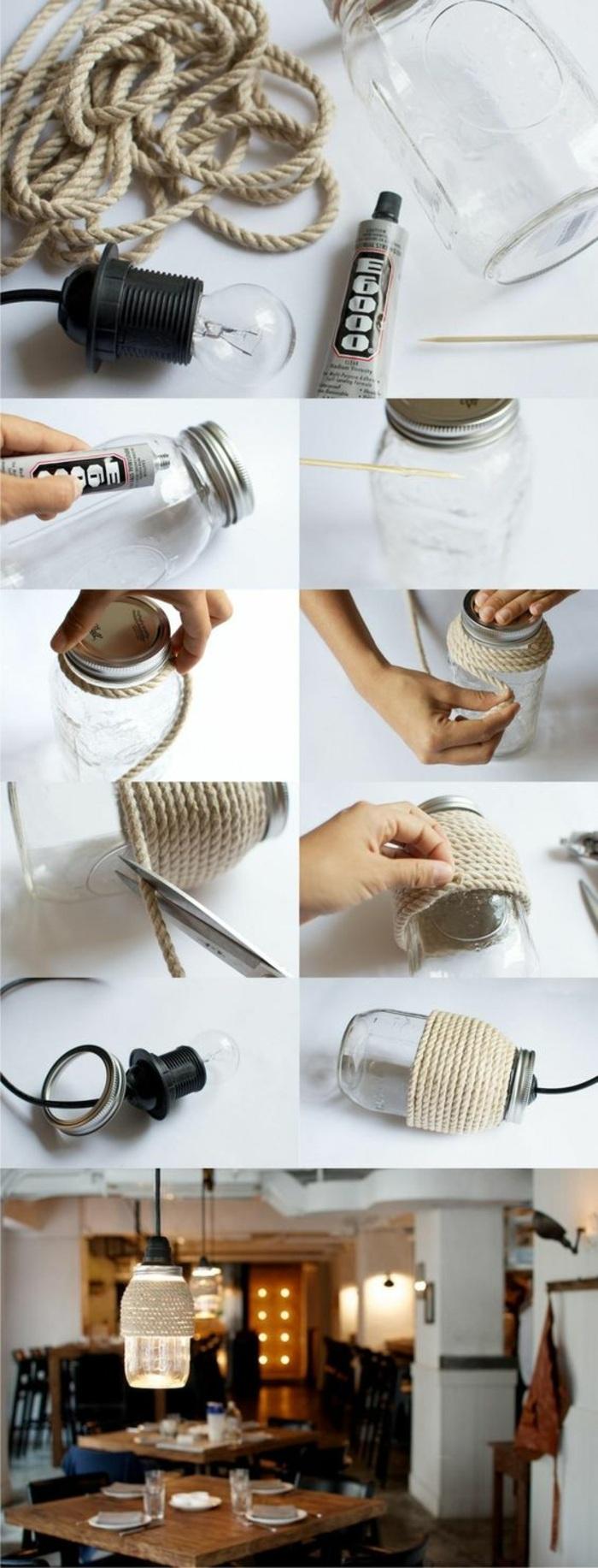 idea per realizzare degli oggetti fai da te semplici, una lampada creata con un vaso di vetro