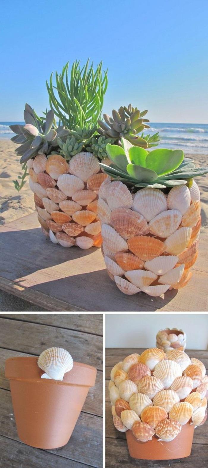 vaso decorato con delle conchiglie di colori diverse, fai da te bricolage idee