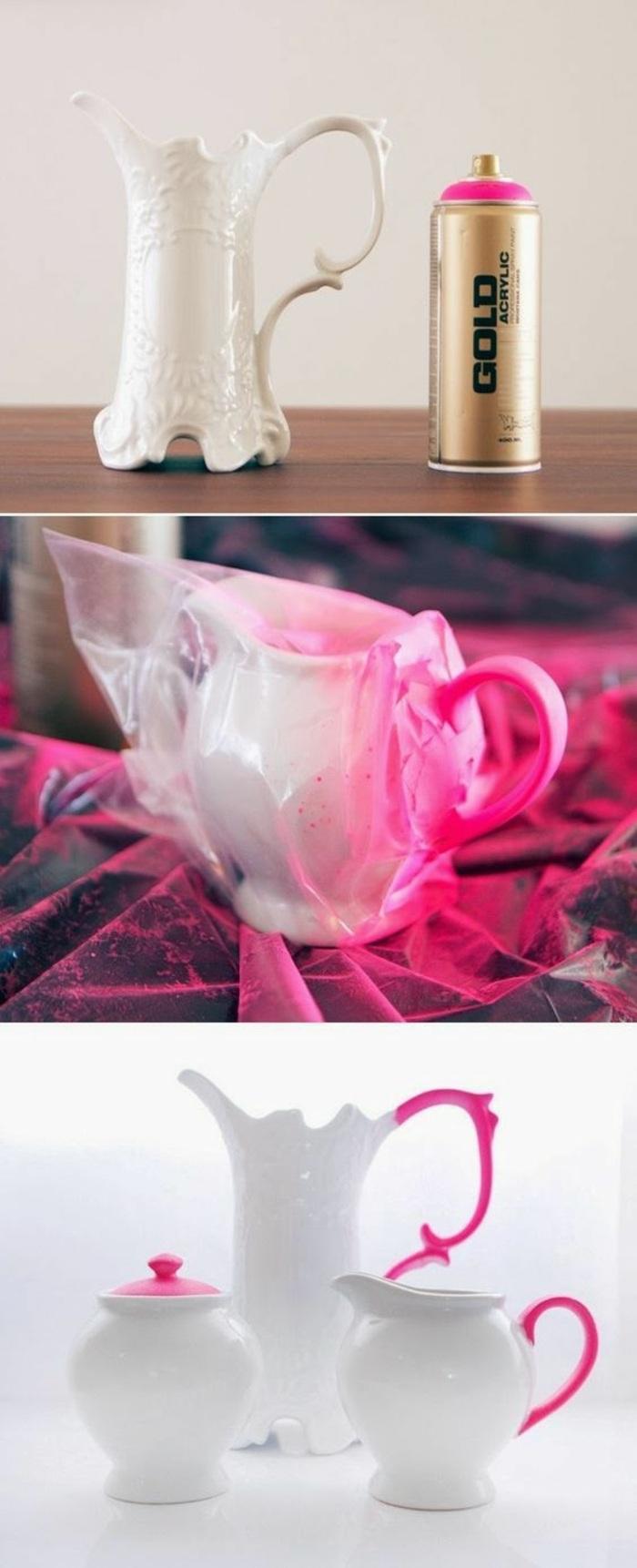 idea di fai da te oggetti creativi, un servizio da tè bianco cui sono stati decorati i manici