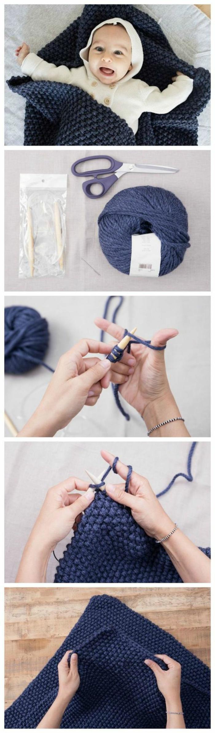 idea di oggetti fai da te casa, una coperta a triangolo realizzata a maglia per il bebé