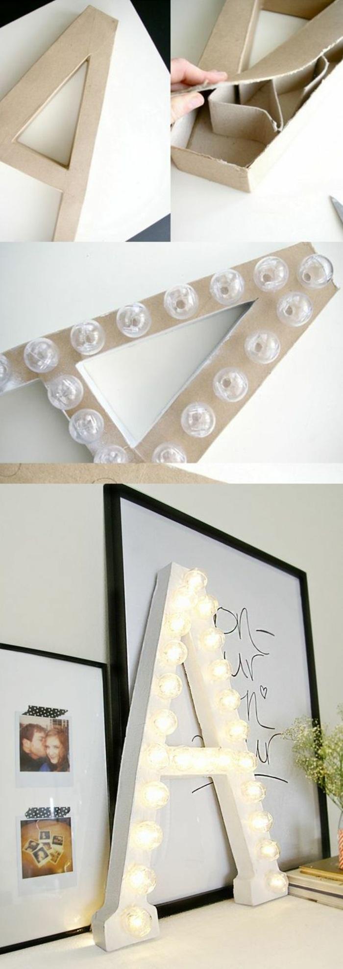 come decorare una lettera in cartone di grandi dimensioni, idea per creazioni fatte a mano