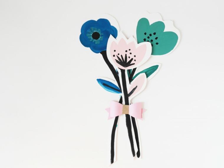 idea per dei disegni per la festa della mamma, mazzo di fiori con un fiocco rosa