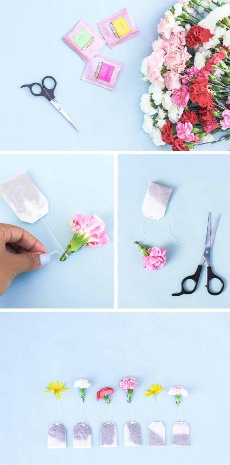 idea creativa per lavoretti festa della mamma, il necessario per realizzarlo: forbici, fiori e bustine di tè