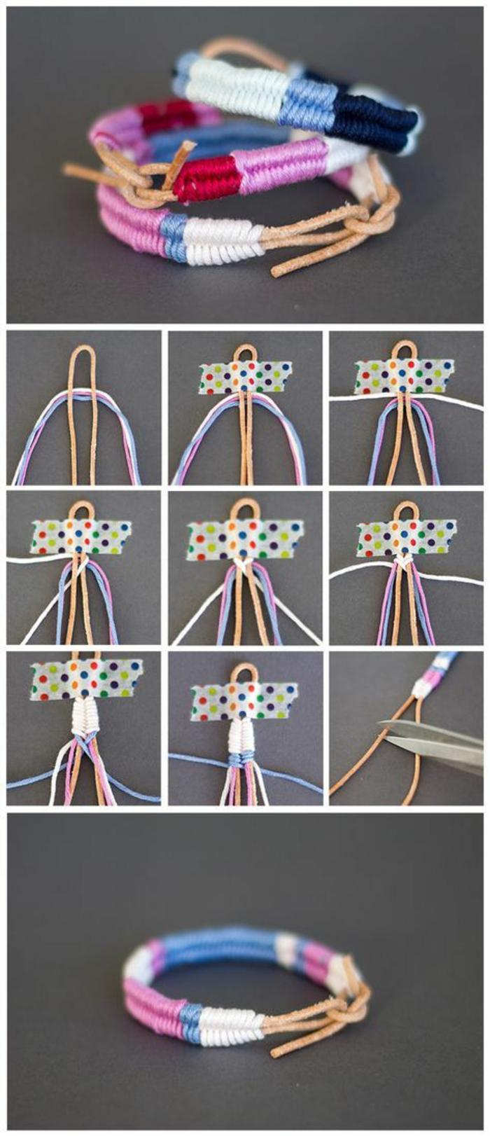 immagini tutorial per delle creazioni fai da te semplici e originali, dei bracciali di filo colorati