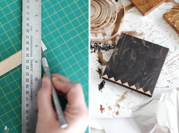 decorazione con motivi geometrici del sottopentola in legno con righello e matita, lavoretti creativi festa della mama