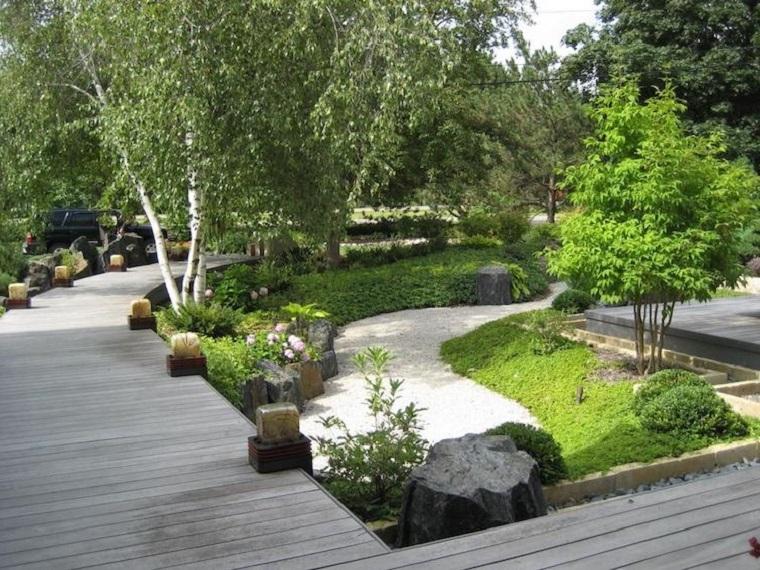 Giardini da copiare, camminamento con ghiaia e alberi intorno, area esterna con lampade da terra