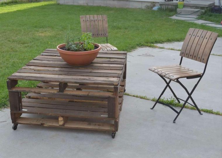 set da esterno facile da realizzare utilizzando i pallet: un tavolo e due sedie