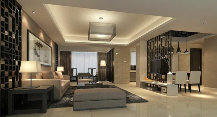 eleganti mobili soggiorno moderni con divani grigi, lampade di design e zona pranzo separata