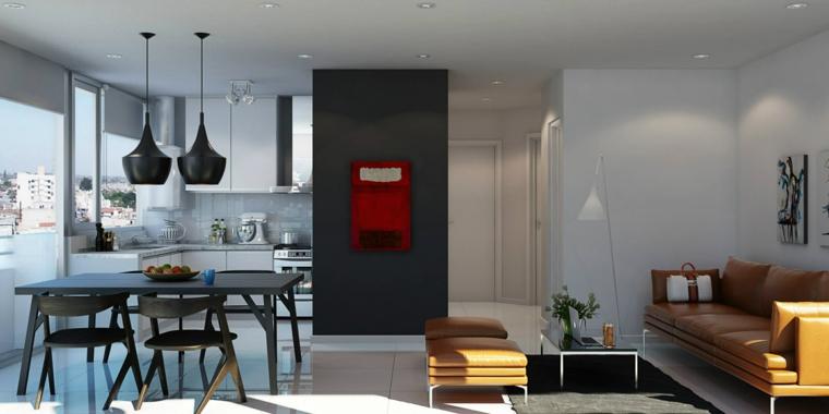 soluzione per arredare salotti moderni con un divano in pelle, un tavolino da caffè e un tavolo per il pranzo