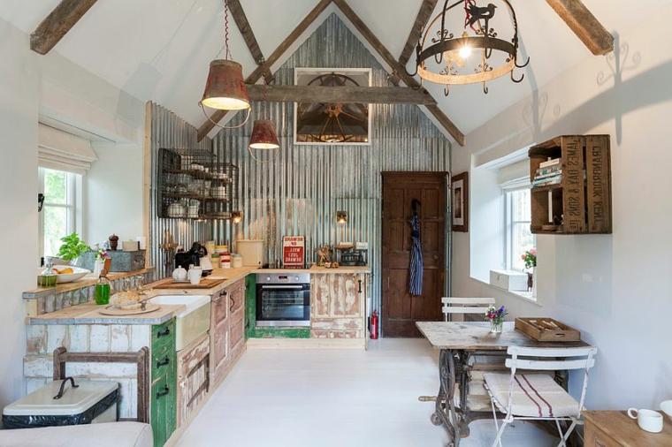 riginale soluzione per arredare cucine shabby chic moderne con mobili dall'aspetto vissuto