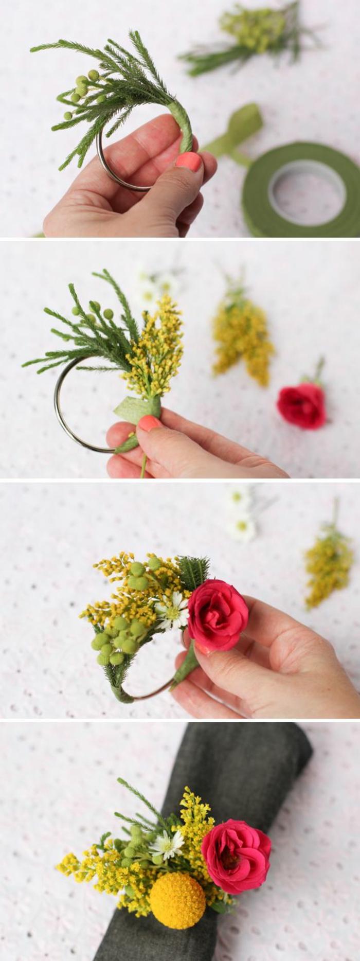 proposta originale per oggettistica fatta a mano, un portatovaglioli creato con fiori e rami di mimosa