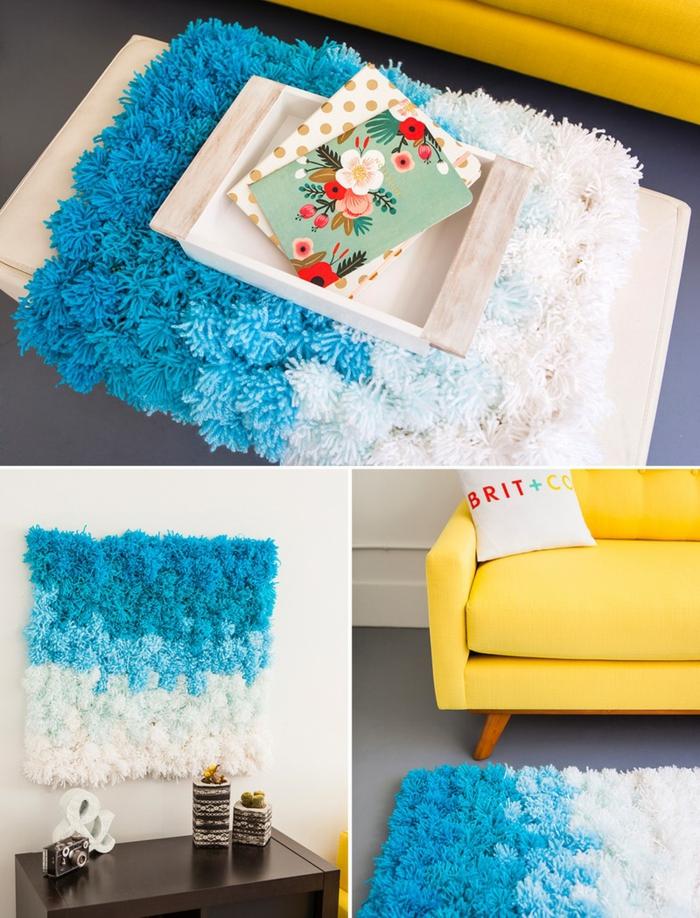 esempio di oggetti fai da te per la casa, un tappetino azzurro e bianco realizzato con dei pon pon