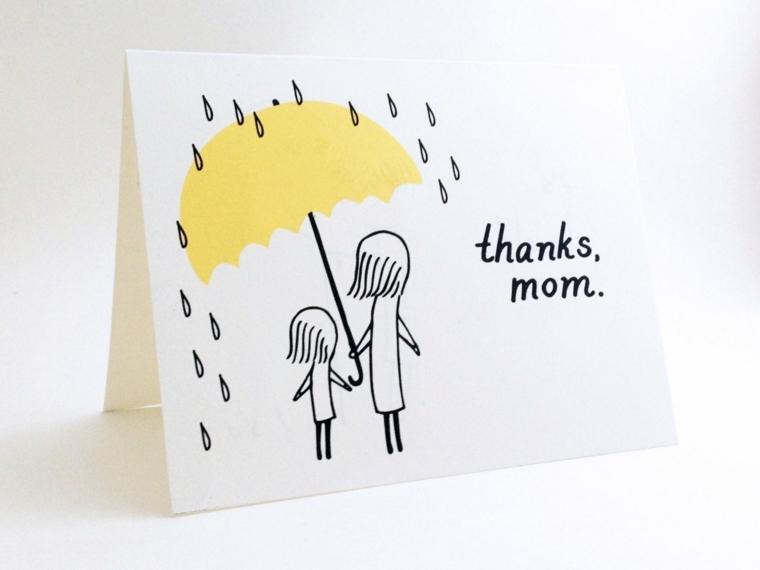 biglietto di auguri per la festa della mamma, con il disegno della mamma che ripara la figlia dalla pioggia
