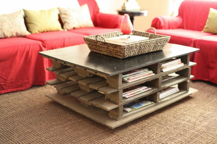 soggiorno con idee pallet originali: un tavolo con dei ripiani per le riviste