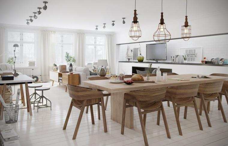 ampia stanza arredata con un tavolo da pranzo in legno, divani bianchi e lampadari di design