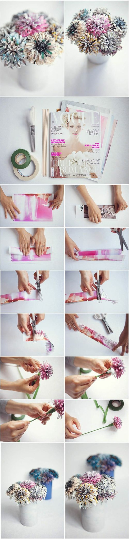 esempio di oggetti fai da te dei fiori colorati realizzati con la carta di giornale