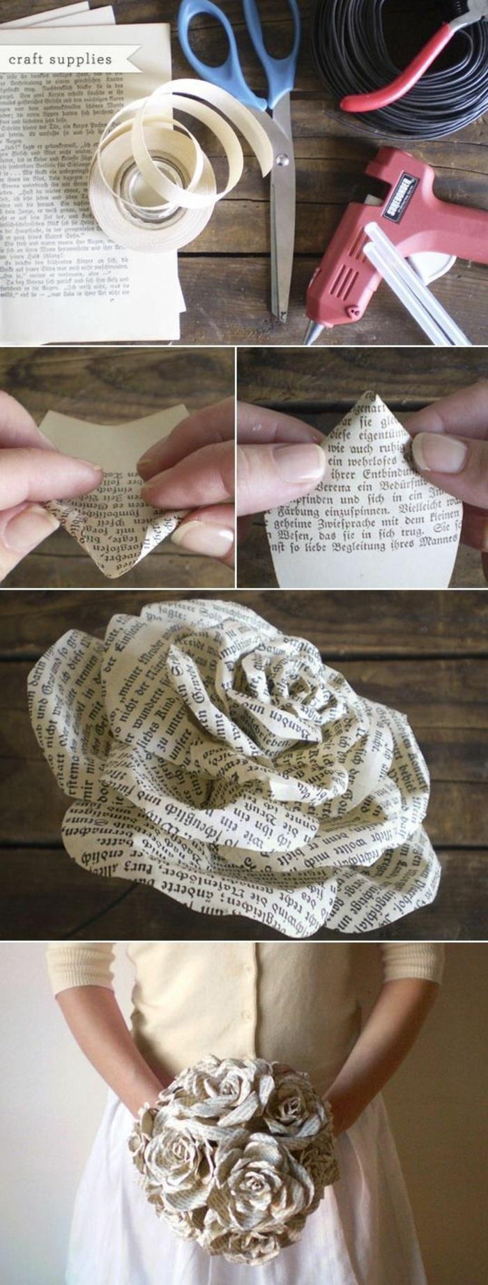 originale e creativo bouquet di fiori realizzato con della pagine di un vecchio libro