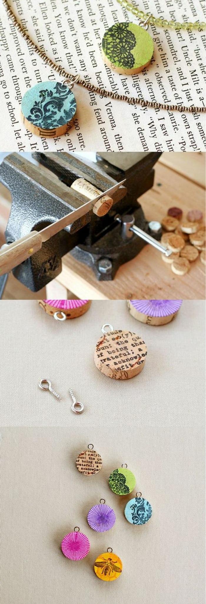 idea per oggetti fai te semplici, delle collane realizzate riciclando e decorando dei tappi in sughero