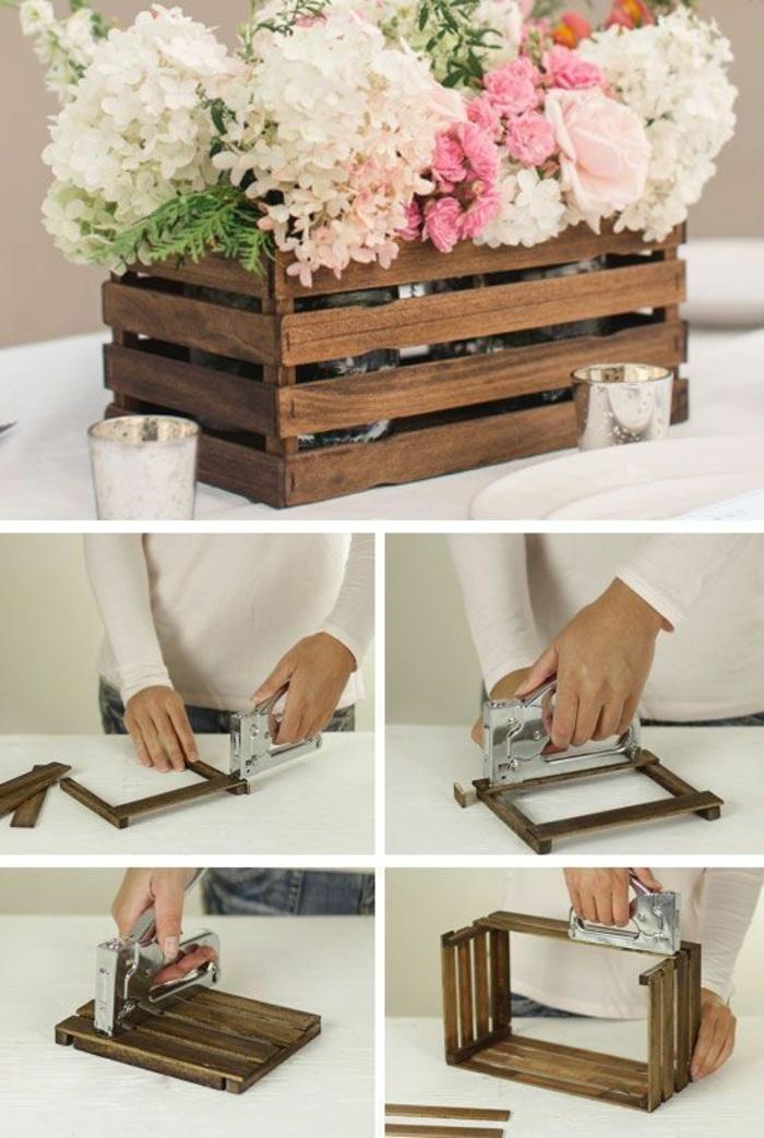 idea per degli oggetti artigianali fatti a mano, una fioriera rettangolare in legno