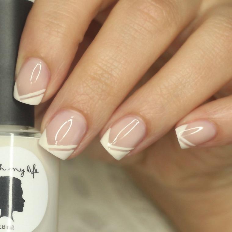 Unghie gel french bianco, mani donna sposa, manicure corta forma quadrata