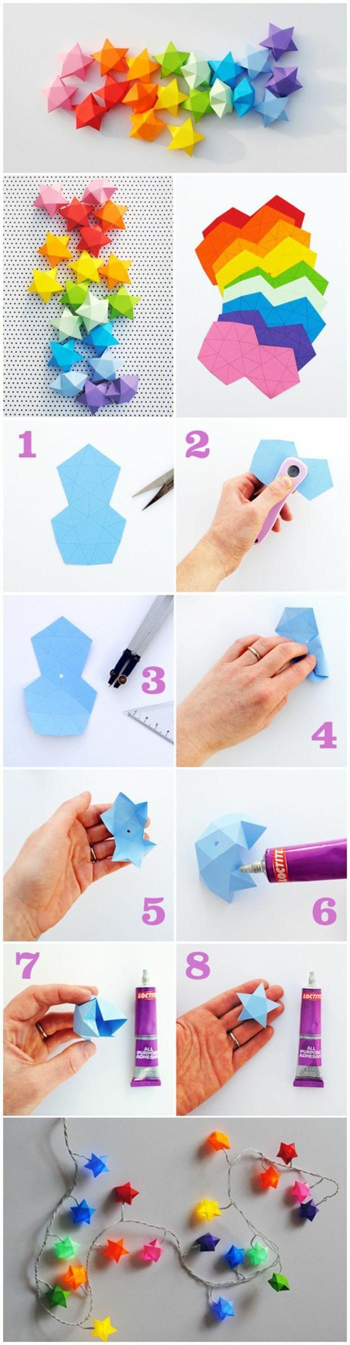 esempio di lavoretti da fare con i bambini, i vari passaggi per realizzare delle stelle di carta