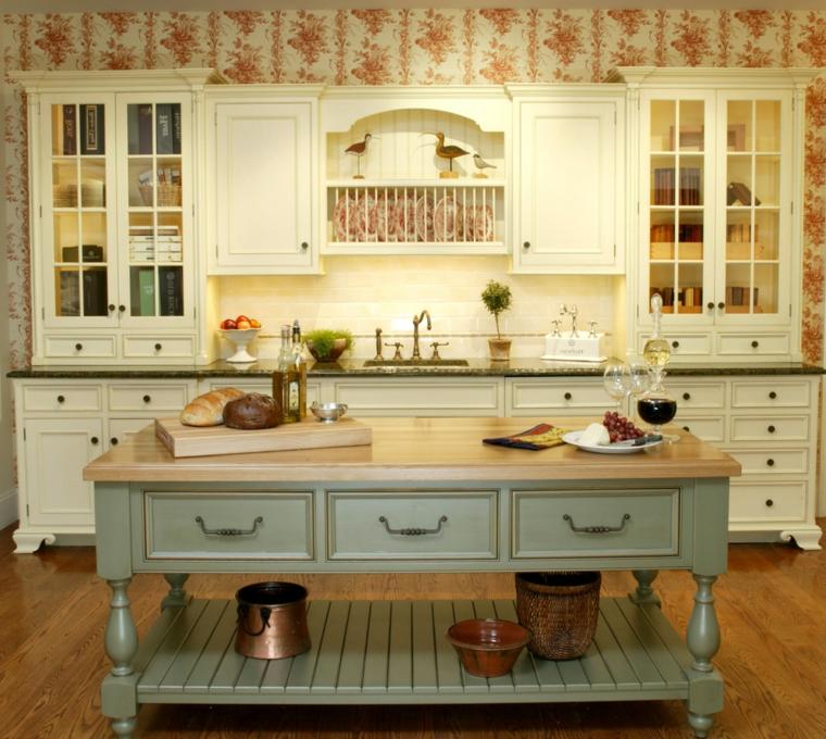 idea per arredare delle cucine stile shabby chic con un mobile azzurro pastello al centro