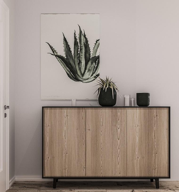 Mobile di legno con porte scorrevoli, quadro con disegno pianta, esempi arredamento soggiorno