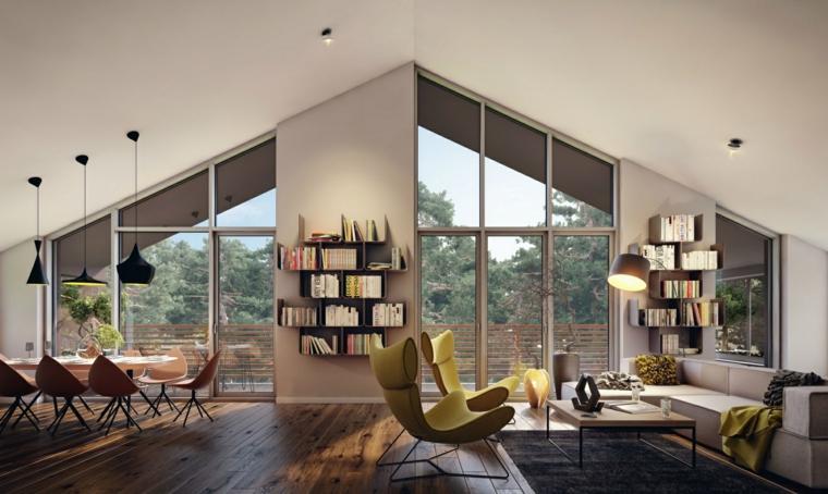open space arredato con soluzioni moderne e innovative con soffitto spiovente e ampie vetrate