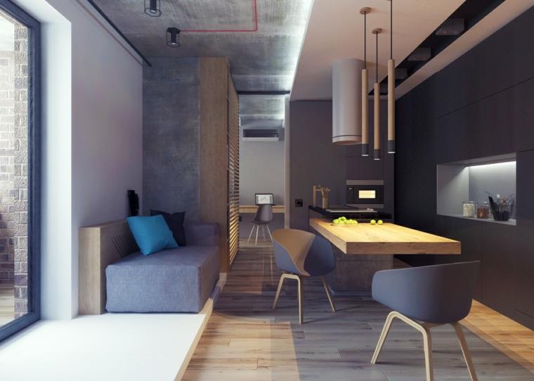 Soggiorni moderni immagini, divano piccolo con cuscini, cucina con nicchie