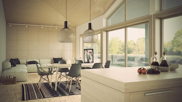 luminoso open space con divano angolare, tavolo da pranzo e cucina a vista, idea per mobili soggiorno moderni