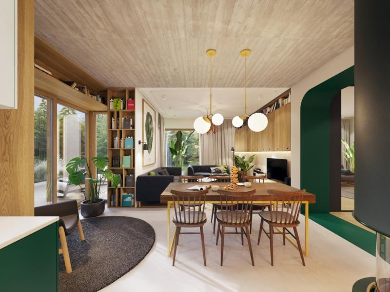 Esempi arredamento soggiorno, tavolo di legno con sedie, tappeto ovale con pelo corto